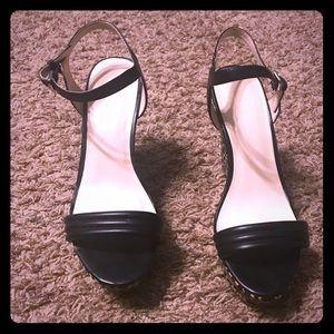 Nine West Black and Tan Wedge Sandals